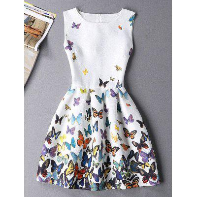 Sleeveless Round Neck Butterfly Print Mini Dress