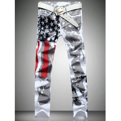 Casual Colorful Printing Zip Fly Straight Legs Denim Pants For Men