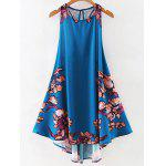 Stylish Round Neck Floral Print A Line Women's Sundress - PURPLISH BLUE