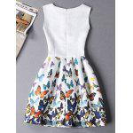 Sleeveless Butterfly Mini Casual Spring Everyday Dress - WHITE