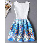 Cute Sleeveless Round Neck Butterfly Print Ombre Women's Dress - BLUE