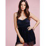 cheap Stylish Cami Black Lace Splice Women's Mini Dress