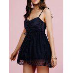 Buy BLACK Stylish Cami Black Lace Splice Women's Mini Dress for $18.78 in GearBest store