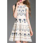 Round Collar Embroidered Tank Dress - WHITE