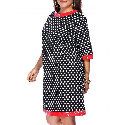 Fashion Round Neck Polka Dot Splicing Plus Size Dress For Women
