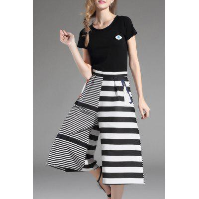 Top and Striped Wide Leg Pants