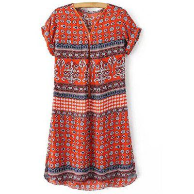 Casual V-Neck Zip Front Printed Women's Dress