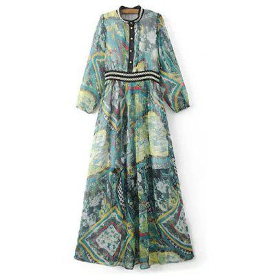 Long Sleeve Beading Maxi Chiffon Dress
