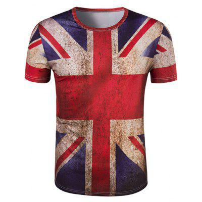 3D Retro Flag Short Sleeve T-Shirt