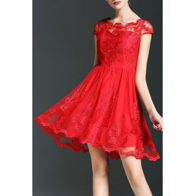 Solid Color Mesh Spliced Dress