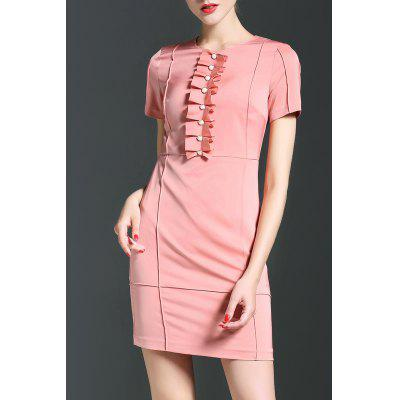 Packet Buttock Solid Color Dress