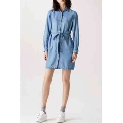 Button Detail Tied Denim Shirt Dress