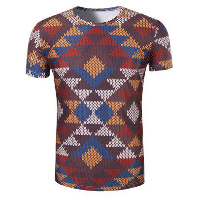 Buy COLORMIX 3D Printed Round Neck Short Sleeve T-Shirt For Men for $14.56 in GearBest store