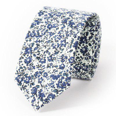 Stylish Tiny Flowers Print Wedding Casual Party White Tie For Men