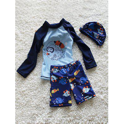Stylish Long Sleeve Cartoon Fish Print Sun-Resistant Boy's Swimsuit