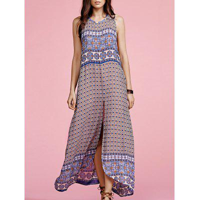Stylish Round Neck Sleeveless Ethnic Print Women's Maxi Dress