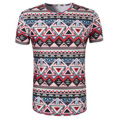 Buy COLORMIX 3D Geometry Printed Round Neck Short Sleeve T-Shirt For Men for $11.37 in GearBest store