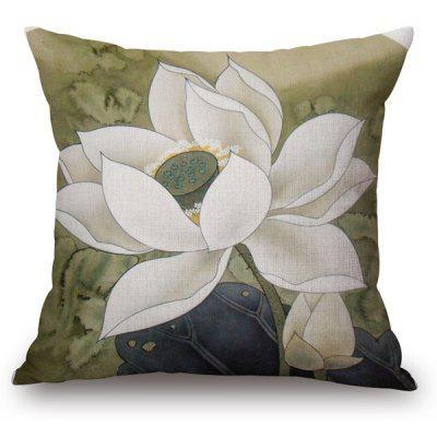 Traditional White Lotus Painting Pattern Square Shape Pillowcase