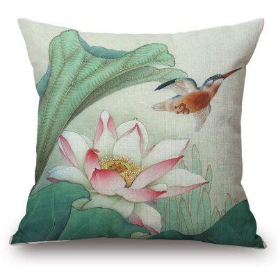 Traditional Style Chinese Painting Water Lily Pattern Square Shape Pillowcase