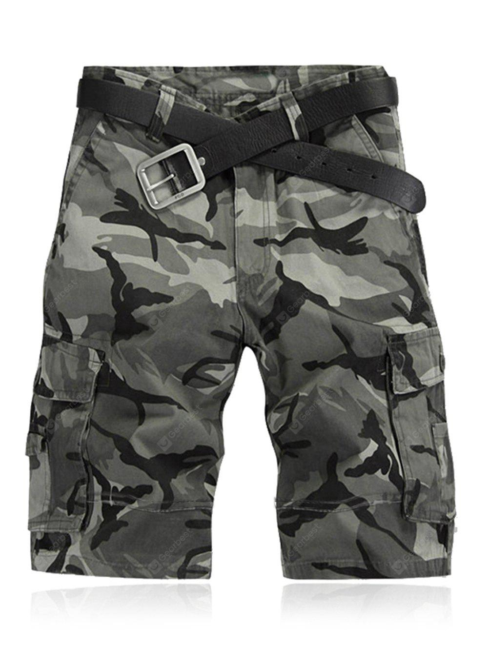 Military Style Straight Leg Multi-Pocket Camo Zipper Fly Cargo Shorts For Men