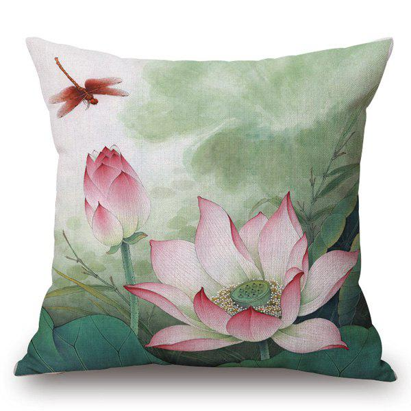 Chinese Style Red Lotus Painting Pattern Square Shape Pillowcase