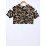Fashionable Camouflage Cold Shoulder Top For Women - CAMOUFLAGE