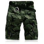 Military Style Straight Leg Multi-Pocket Camo Zipper Fly Cargo Shorts For Men - VERDE
