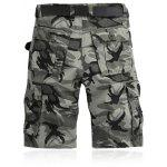 Military Style Straight Leg Multi-Pocket Camo Zipper Fly Cargo Shorts For Men - CINZA