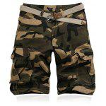 Military Style Straight Leg Multi-Pocket Camo Zipper Fly Cargo Shorts For Men - KHAKI