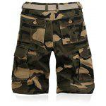 Military Style Straight Leg Multi-Pocket Camo Zipper Fly Cargo Shorts For Men - CAQUI