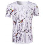 Buy COLORMIX Hot Sale 3D Bird and Flower Printed Round Neck Short Sleeve T-Shirt For Men for $11.54 in GearBest store