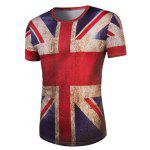 cheap 3D Retro Flag Round Neck Short Sleeve T-Shirt For Men