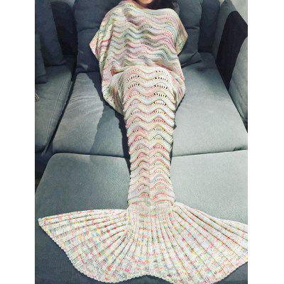 Buy OFF-WHITE Comfortable Multicolor Knitted Throw Mermaid Tail Design Blanket For Adult for $26.22 in GearBest store