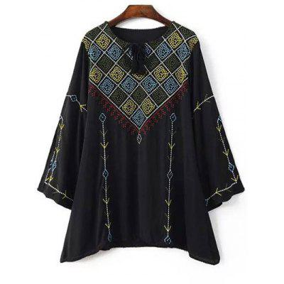 Ethnic Style Round Neck Long Sleeve Embroidery Blouse For Women