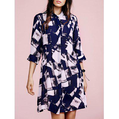 Fashion Stand Neck 3/4 Sleeve Checked Print Shirt Dress For Women