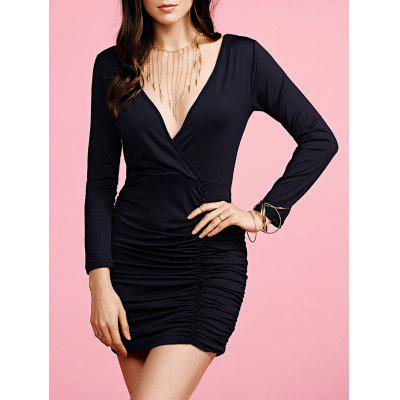 Stylish Plunging Neck Long Sleeve Black Fitted Women's Dress