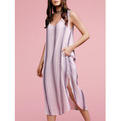 Stylish Plunging Neck Sleeveless High Slit Striped Women's Dress