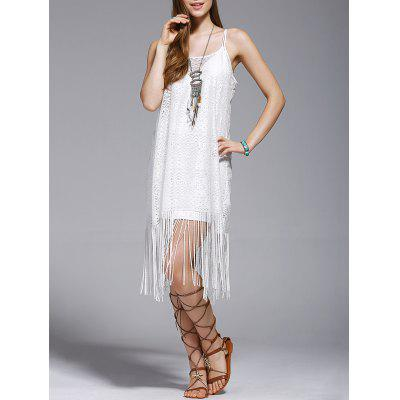 Fashionable Tassel Spaghetti Straps Hollow Out Dress For Women