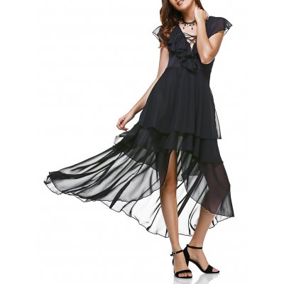 Flounce Collar Lace Up Layered Irregular Dress