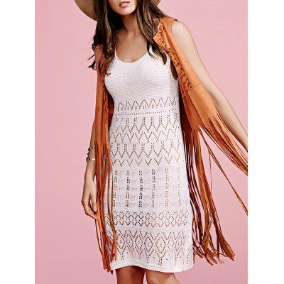 Stylish Round Neck Sleeveless Solid Color Cut Out Crochet Women's Dress