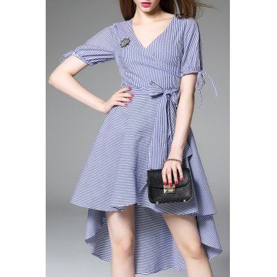 V Neck Stripe High Low Dress