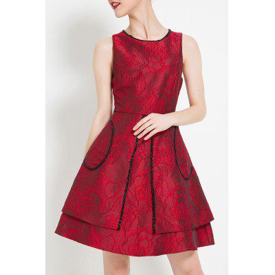 A Line Jacquard Mini Cocktail Dress