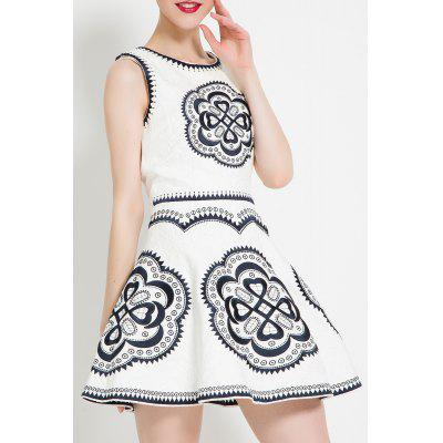 Embroidered Sleeveless Flared Dress
