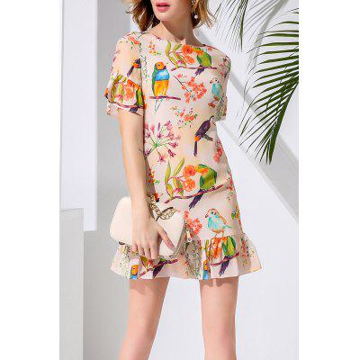 Sheath Flounce Ruffles Bird Printed Dress