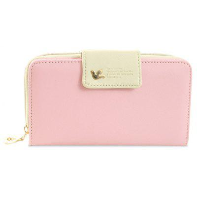 Sweet Color Block and Zip Design Clutch Wallet For Women