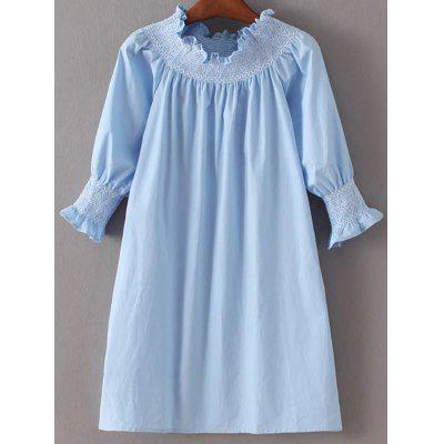 Trendy Off Shoulder Light Blue Women's Poplin Dress