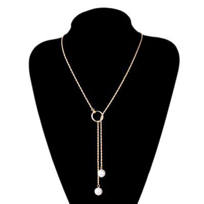 Buy WHITE Graceful Faux Pearl Circle Sweater Chain For Women for $2.99 in GearBest store