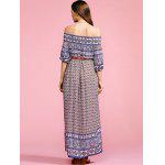 Stylish Off The Shoulder Half Sleeve Ethnic Print Women's Maxi Dress - COLORMIX