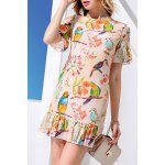 Sheath Flounce Ruffles Bird Print Dress deal