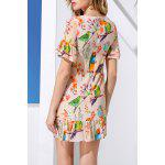 cheap Sheath Flounce Ruffles Bird Print Dress
